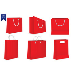 set of red gift bags isolated on white background vector image