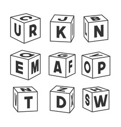 Set outline toy bricks with letters vector