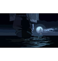 ship with sails on a moonlit night on the sea vector image