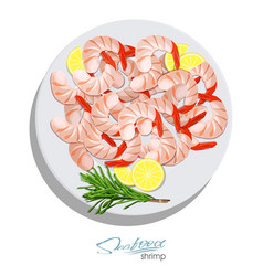 Shrimps with rosemary and lemon on the plate vector