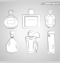 six parfume flat outlined bottles set in black and vector image