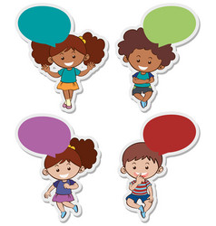 sticker designs with cute boys and girls vector image