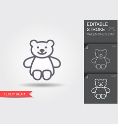 teddy bear plush toy line icon with editable vector image