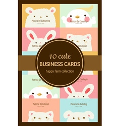 ten cute pastel animal business cards or labels vector image