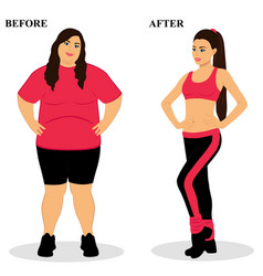 Thin and fat before and after healthy lifestyle vector