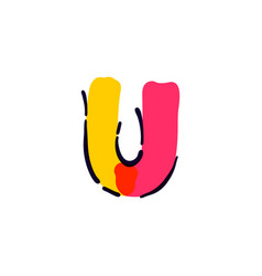 U letter logo handwritten with a multicolor vector