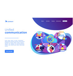 Unified communication concept landing page vector