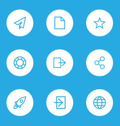 User outline icons set collection of send globe vector