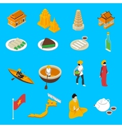 Vietnam Touristic Attractions Isometric Icons vector