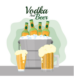 Vodka and beer vector