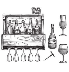 Wine holder bottles and glasses vector image vector image