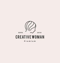 woman logo icon line outline monoline vector image
