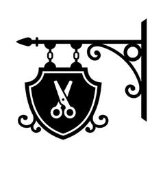Ancient street signboard of hairdresser vector image