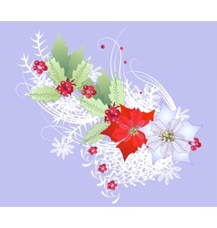 Christmas Branch with Snowflakes and Berry vector image vector image