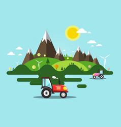 flat design landscape with tractor on field vector image vector image