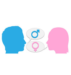 man and woman conversation silhouette vector image vector image