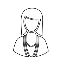 monochrome half body silhouette woman faceless vector image vector image
