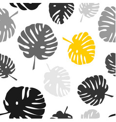 tile tropical pattern with exotic leaves on white vector image