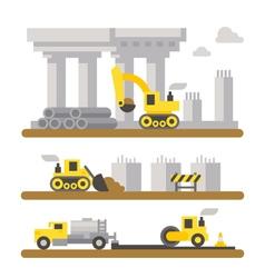 Construction site machineries flat design vector image