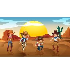 Desert Cowboy Cowgirl vector image vector image