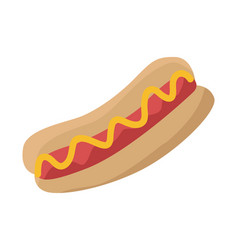 hot dog with sausage ketchup and bread isolated vector image