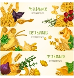 Italian pasta macaroni and spaghetti banner set vector image