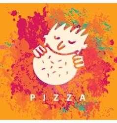 man who eats pizza vector image