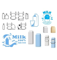 Milk packages cartoon characters with design vector image