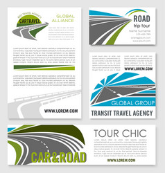 road trip and car travel banner template set vector image vector image