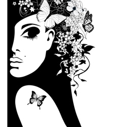 silhouette of a woman with flowers and butterflies vector image