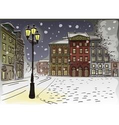 Antique European street Winter Night city landscap vector image vector image