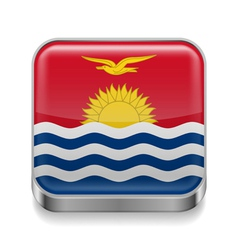 Metal icon of Kiribati vector image vector image