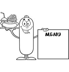 Sausage Cartoon Serving Food vector image vector image
