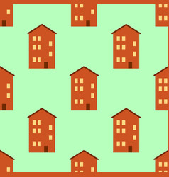 seamless pattern with houses bright vector image