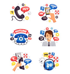 support call center flat compositions vector image vector image