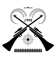 Vintage hunting label logo of badge hunters club vector