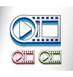 3d glossy video play icon vector image