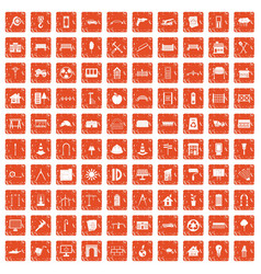 100 architecture icons set grunge orange vector