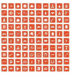 100 gambling icons set grunge orange vector