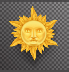Antique golden sun face crown of flames realistic vector