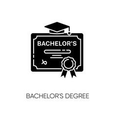 Bachelors degree black glyph icon vector