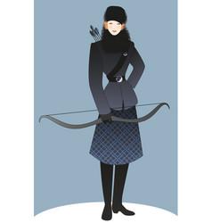 Beautiful girl dressed in winter sportswear as a vector