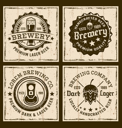 beer and brewery four colored emblems or badges vector image