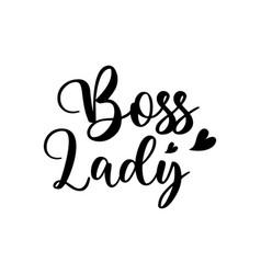 boss lady lettering set grunge ink badges vector image