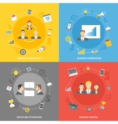 Business concept flat icons set vector image