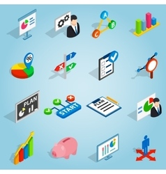 Business plan set icons isometric 3d style vector image