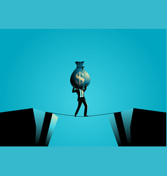 businessman crossing abyss on tiny rope vector image