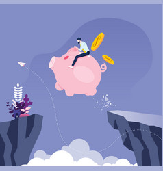 businessman riding piggy bank across cliff vector image