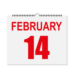 calendar february 14 valentines day in a vector image