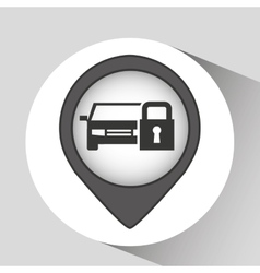 Car and lock icon vector